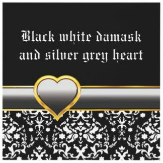 Black white damask and silver grey heart