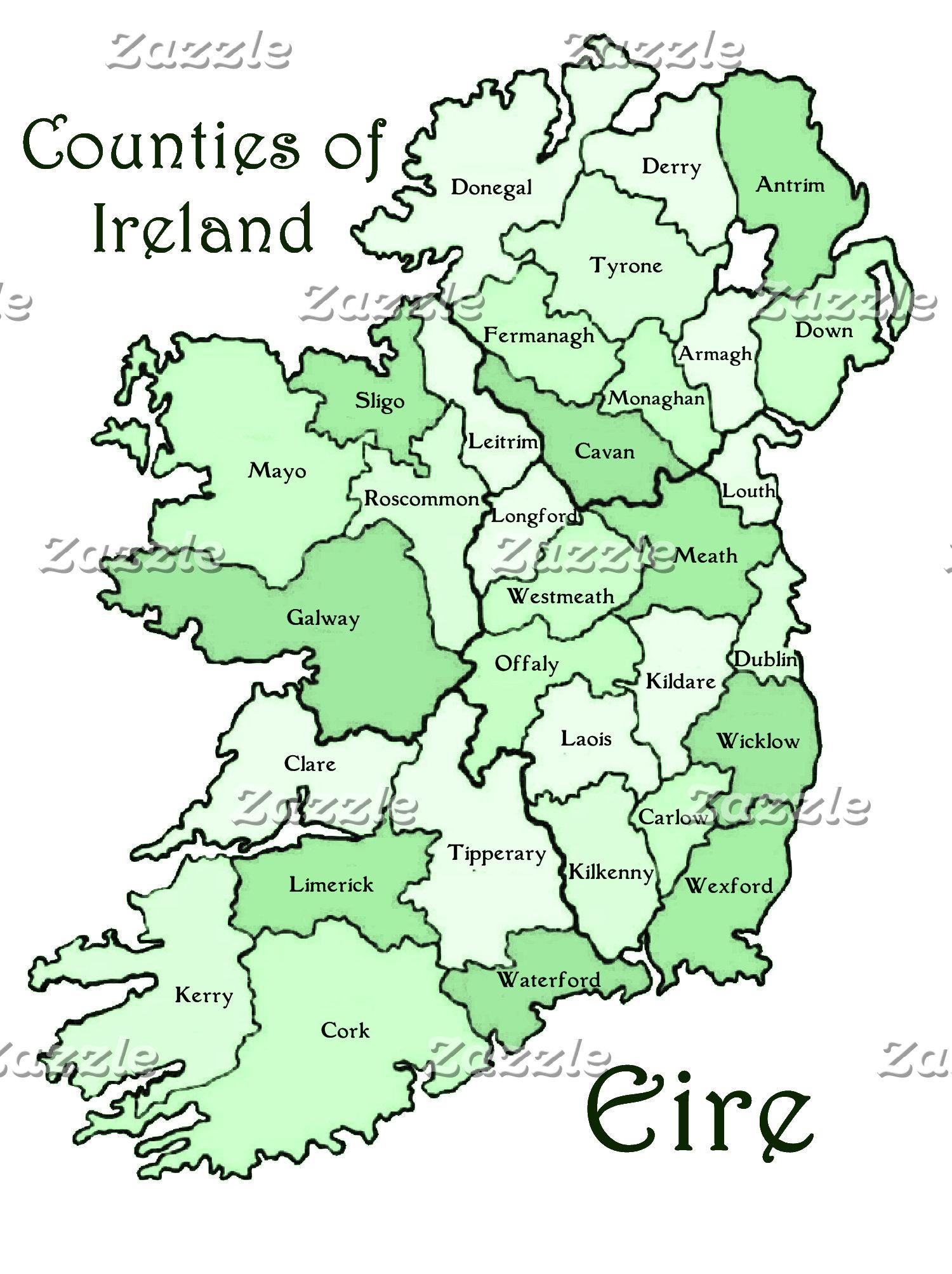 Counties of Ireland Map