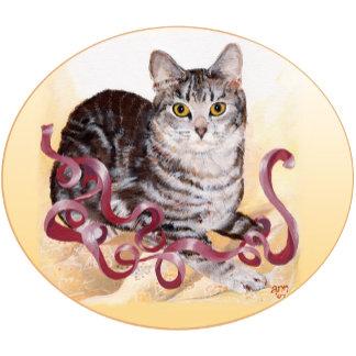 Tabby Cat Ribbon Play