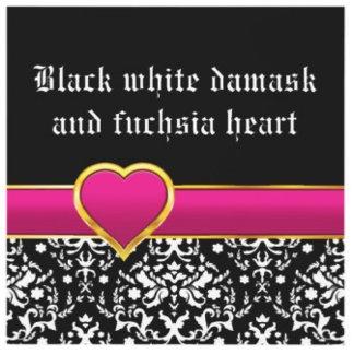 Black white damask and fuchsia heart