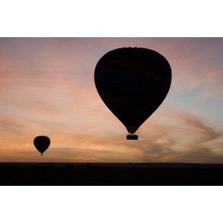 Africa, Kenya, Masai Mara. Two balloons glide