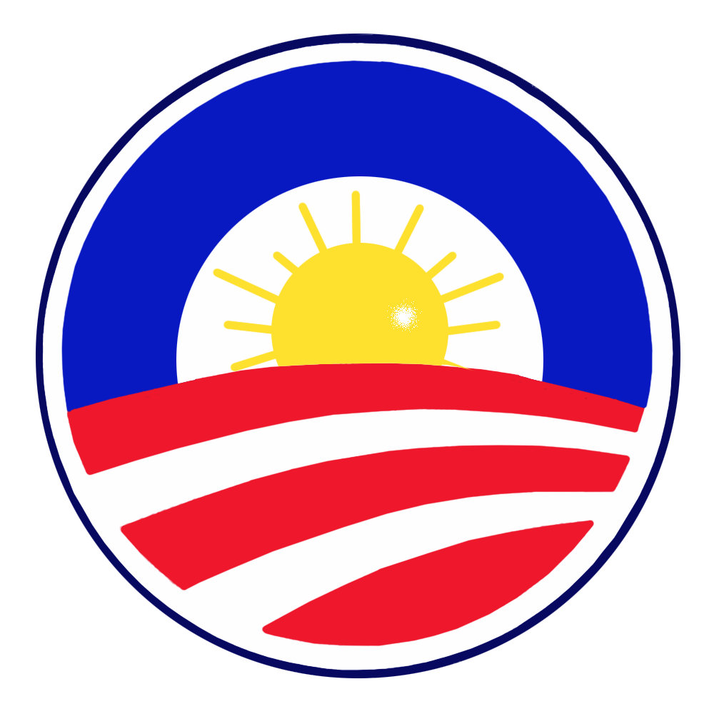 Round Red White and Blue Obama Stickers