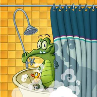 Swampy in the Shower