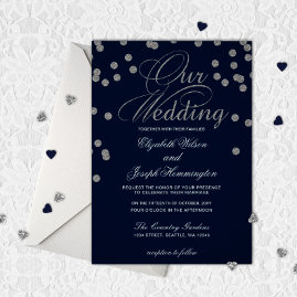Navy Silver Glitter Confetti Wedding Invites