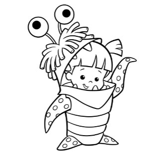 Monsters Inc Boo in costume waving black and white