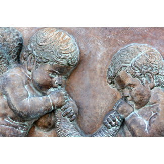 Angels blowing trumpets, cherub wall relief copper