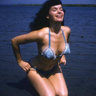 Bettie Page Sunning In Her Blue Vintage Bikini