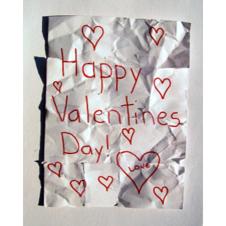 Happy Valentine's Day! Note torn crumpled taped