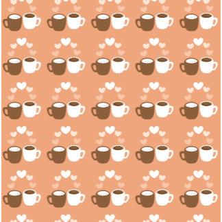 Cute coffee cups on peach love hearts