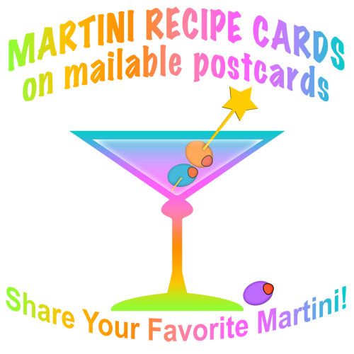 d. MARTINI RECIPE POSTCARDS and CARDS