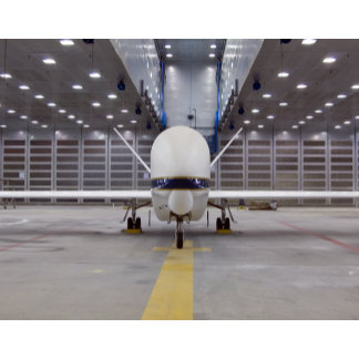 A front view of a Global Hawk unmanned aircraft