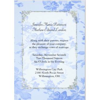 Serenity Blue Floral Toile Wedding Set