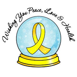 Bladder Cancer Ribbon Merry Christmas Snowglobe