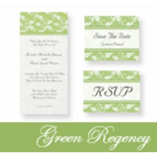 Green Regency Wedding Invitations