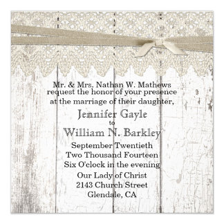 Rustic White Wood and Lace Wedding Products