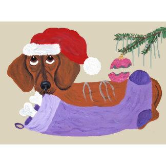 Dachshund With Christmas Stocking
