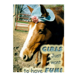 Girls just want to  have fun horse in funny hat