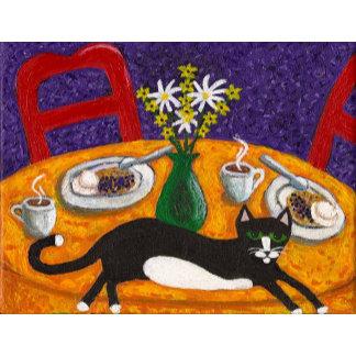Tuxedo Cat and Coffee