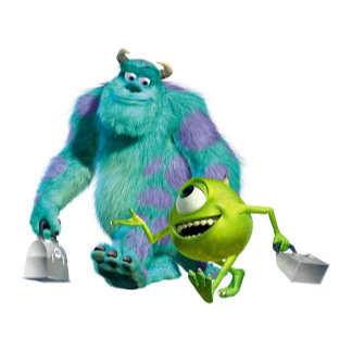 Monsters Inc. Sulley and Mike walking to work