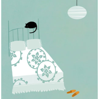 """""""Cat on Bed Poster Print"""""""