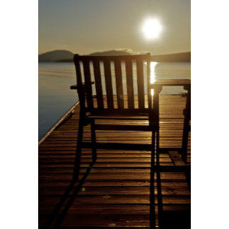 USA, Maine, Rockwood. A chair with a view of