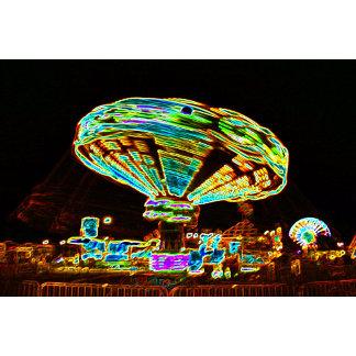 Fair ride Swings Blur Black and Neon