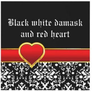 Black white damask, red heart