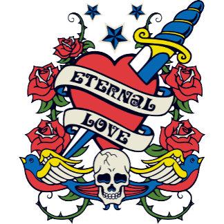 Tattoo Eternal Love Heart Knife Skull Wings