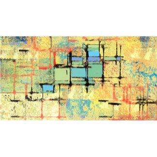 Green Lattice on Yellow Abstract Art Gifts