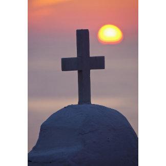 Cross on top of church at sunset, Mykonos,