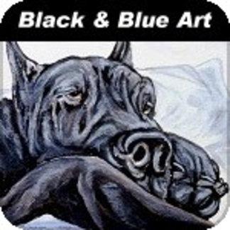 Black / Blue Dane Art
