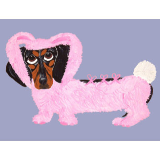 Dachshund In Fuzzy Pink Bunny Suit