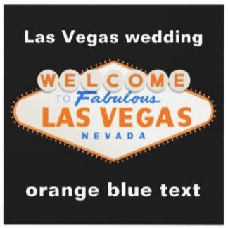 Las Vegas destination wedding, orange blue text