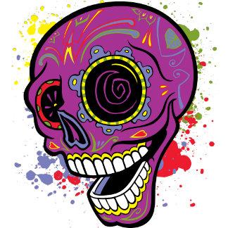 Purple Tattoo Sugar Skull With Paint Splashes