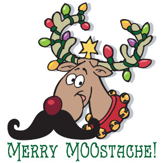 Merry Moostache T-shirts and Christmas Gifts