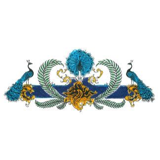 Peacocks and wreath horizontal graphic