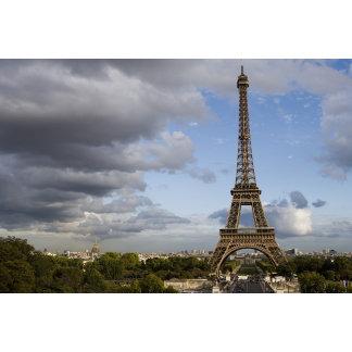 dramatic sky behind Eiffel Tower