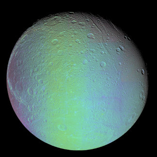 False color view of Saturn's moon Dione