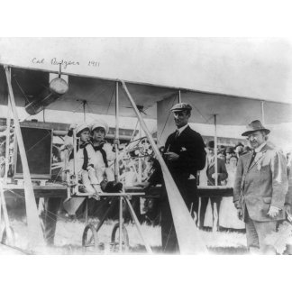 Cal Rodgers outside Airplane Photograph