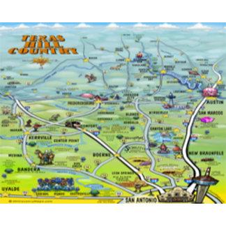 Texas Hill Country Cartoon Map