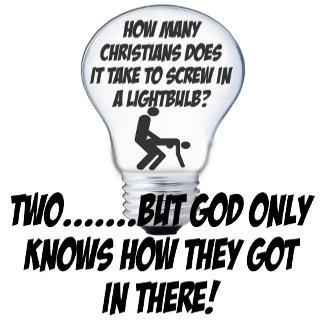 Atheist humor,atheist light bulb joke themed Tees