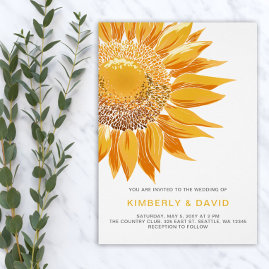 Modern SunFlower Wedding Invitations Suite