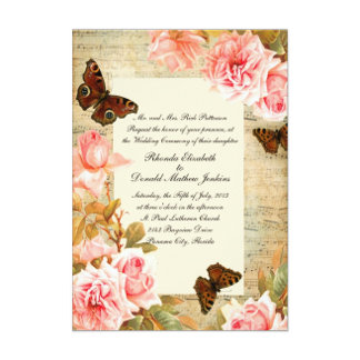 Vintage Roses and Music Sheet Wedding Stationery