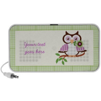 Cute spring owl with plaid border