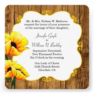 Yellow Poppies On Rustic Wood Wedding