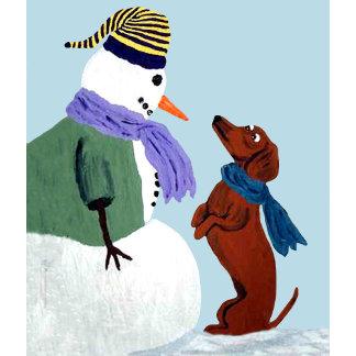 Dachshund And Snowman