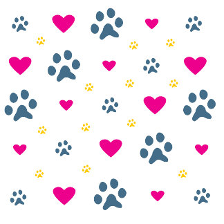 Paw Prints and Hearts Pattern