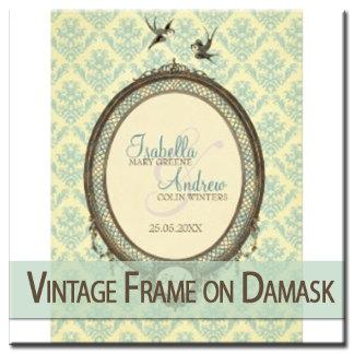 Vintage Frame on Damask & Love Birds