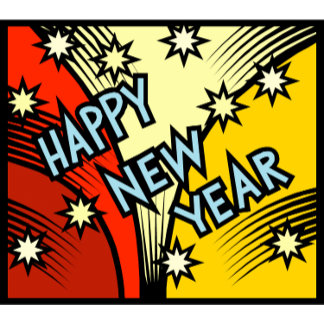 Happy New Year (Red Gold) Buttons & Magnets