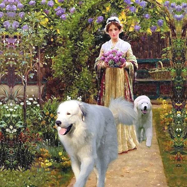 05# Great Pyrenees & Lilacs